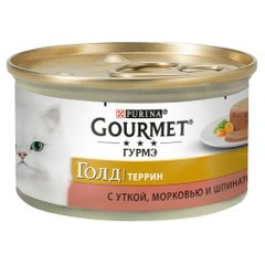 Влажный корм для кошек Gourmet Gold Pieces in Pate Duck, Carrot & Spinach 85 г (утка, морковь и шпинат) - masterzoo.ua
