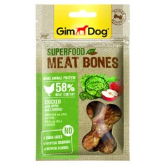 Ласощі для собак GimDog Superfood Meat Bones 70 г (курка, яблуко та капуста) - masterzoo.ua