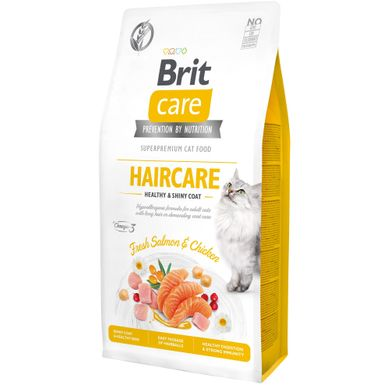 Сухий корм для котів Brit Care Cat GF Haircare Healthy & Shiny Coat 7 кг (курка і лосось) - masterzoo.ua