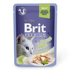 Вологий корм для котів Brit Premium Cat Trout Fillets Jelly pouch 85 г (філе форелі в желе) - masterzoo.ua