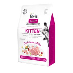 Сухий корм для кошенят Brit Care Cat GF Kitten HGrowth & Development 400 г (курка і індичка) - masterzoo.ua